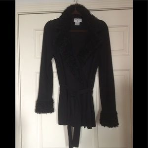 Black Cardigan w/Faux Fur Trim